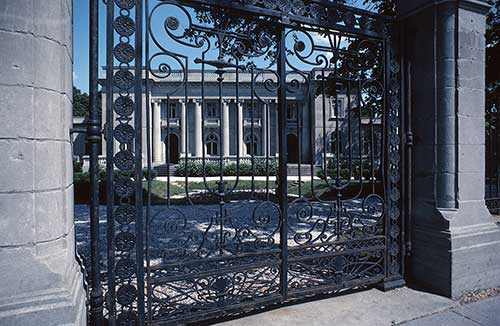 wrought-iron gated home